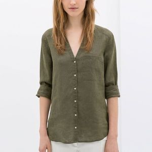 Zara Tops - ZARA basic linen top.